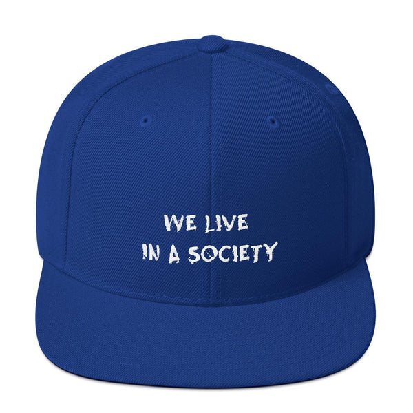 We Live In a Society Snapback shopyourmeme Royal Blue