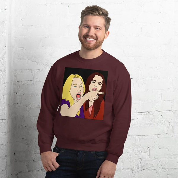 Woman Yelling At A Cat 2 Sided Sweatshirt The Meme Store Maroon S