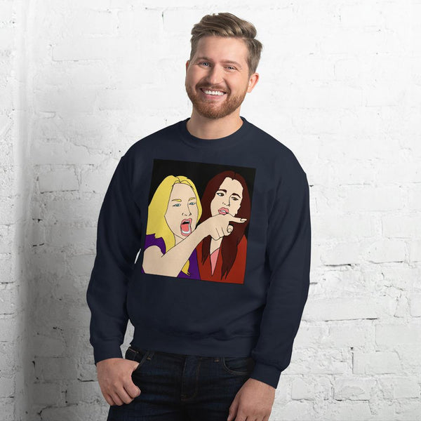 Woman Yelling At A Cat 2 Sided Sweatshirt The Meme Store Navy S