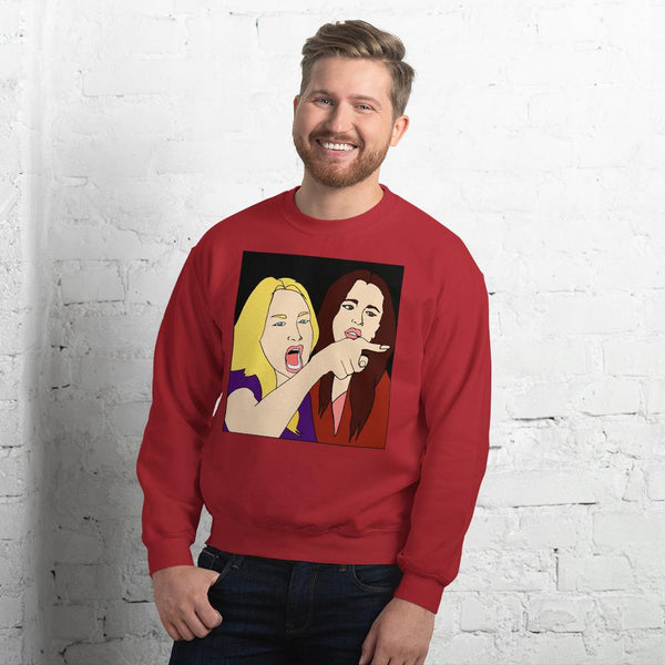 Woman Yelling At A Cat 2 Sided Sweatshirt The Meme Store Red S
