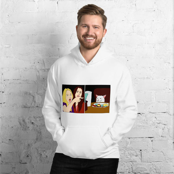 Women Yelling At A Cat Hoodie The Meme Store White S