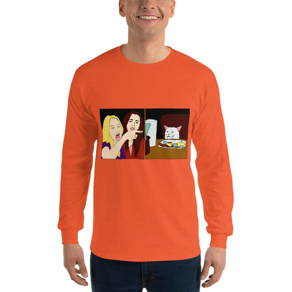 Women Yelling At A Cat Long Sleeve T-Shirt The Meme Store Orange S