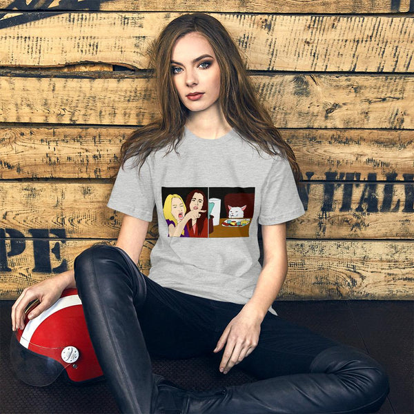Women Yelling At A Cat T-Shirt The Meme Store Athletic Heather S