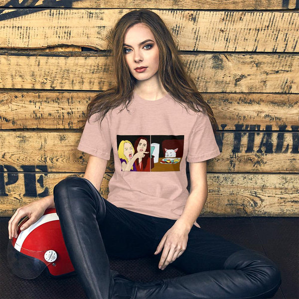 Women Yelling At A Cat T-Shirt The Meme Store Heather Prism Peach S
