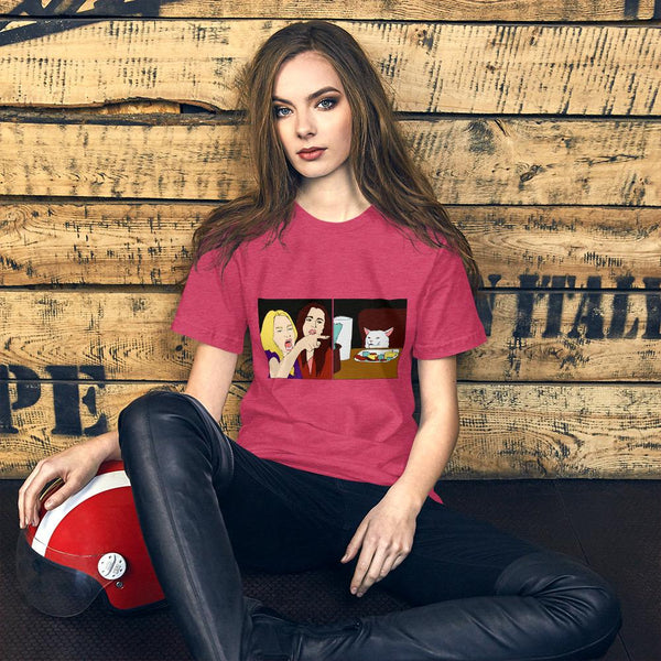 Women Yelling At A Cat T-Shirt The Meme Store Heather Raspberry S