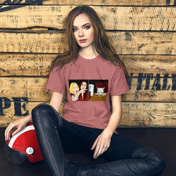 Women Yelling At A Cat T-Shirt The Meme Store Mauve S