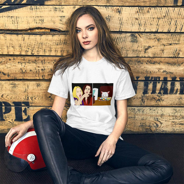 Women Yelling At A Cat T-Shirt The Meme Store White S
