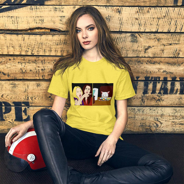 Women Yelling At A Cat T-Shirt The Meme Store Yellow S