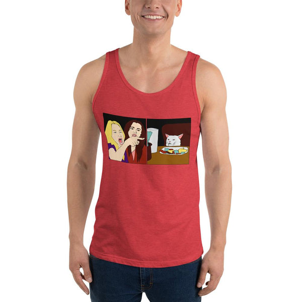 Women Yelling At A Cat Tank Top The Meme Store Red Triblend XS