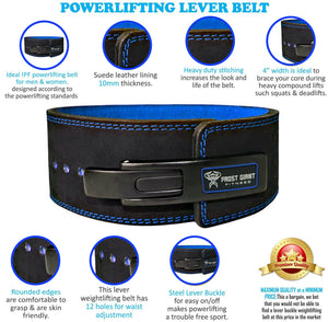 Lever Weightlifting Belt Premium Suede Leather 10mm With Free Barbell Clamps