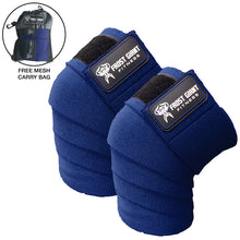 "Load image into Gallery viewer, 80"" Knee Wraps Set. Ideal for Weightlifting, Bodybuilding, Cross Fit, Lifting and Gym Workouts"