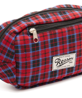 REASON CHECKER FANNY PACK - RED Reason Clothing