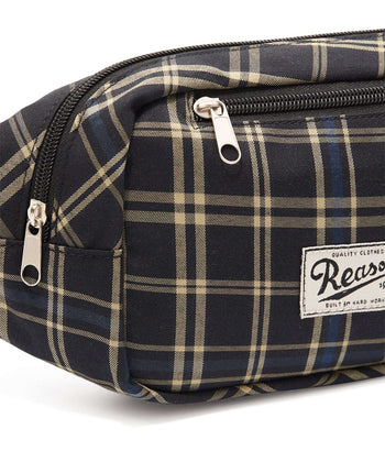 REASON CHECKER FANNY PACK - NAVY Reason Clothing