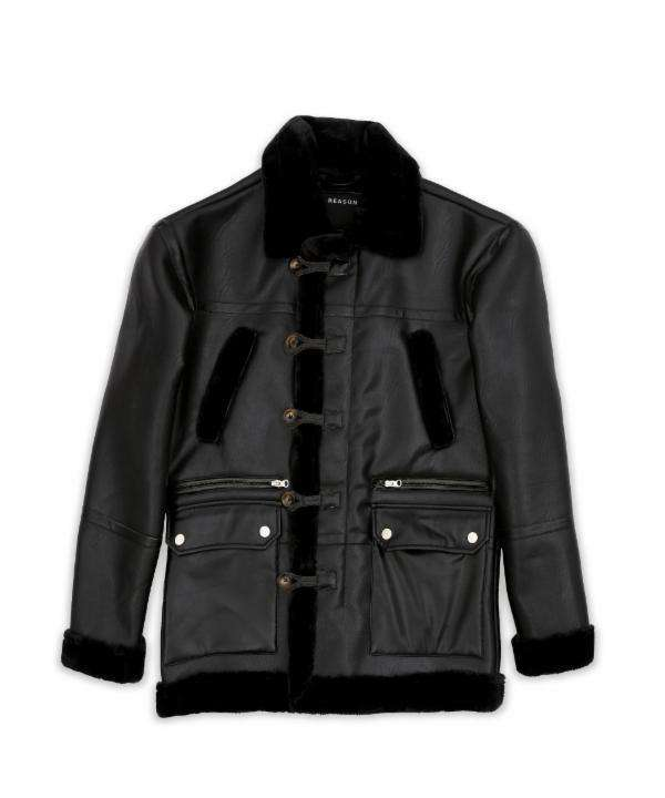 Black Shearling Jacket Reason Clothing