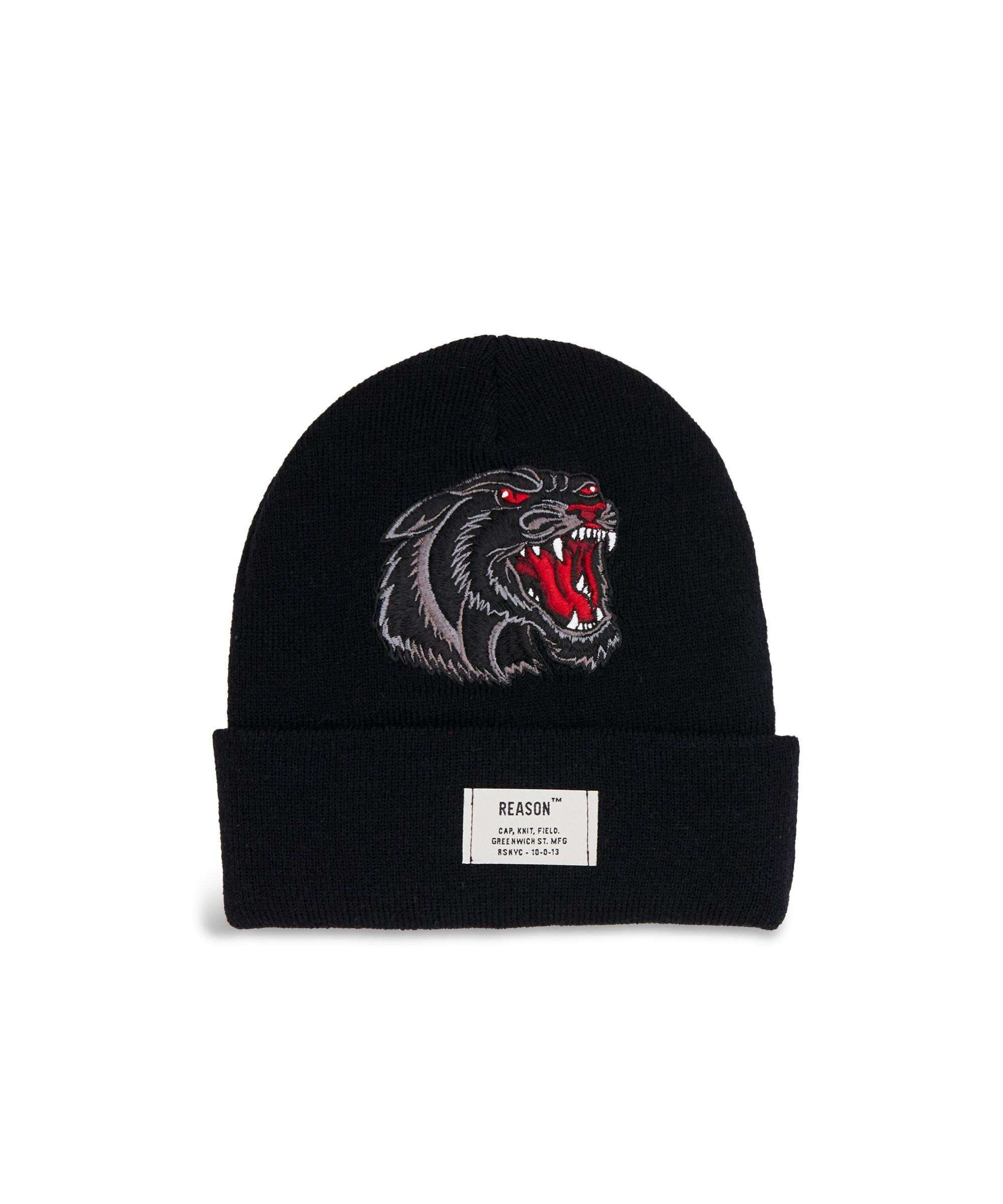 PANTHER BEANIE - BLACK - Reason Clothing