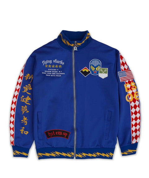 FLYING SHARKS TRACK JACKET - BLUE - Reason Clothing