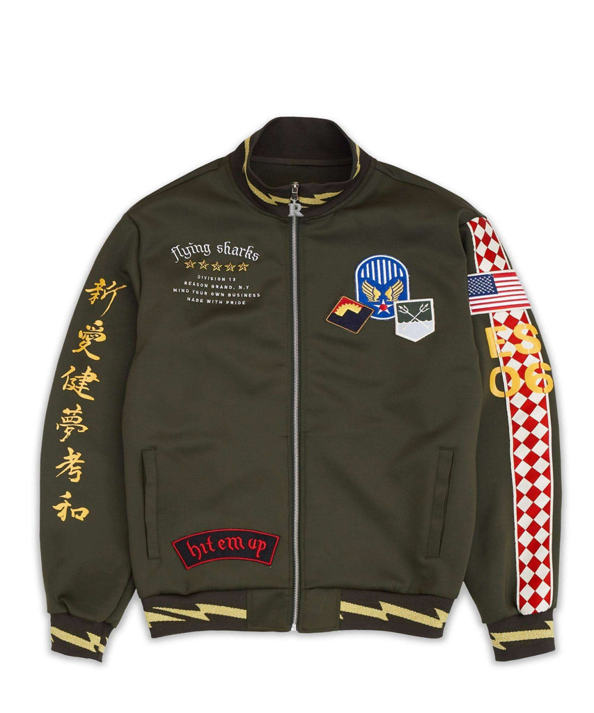 FLYING SHARKS TRACK JACKET - GREEN - Reason Clothing
