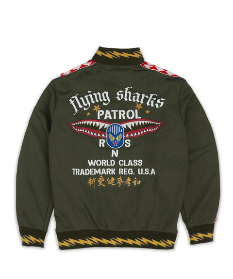 FLYING SHARKS TRACK JACKET - GREEN Reason Clothing