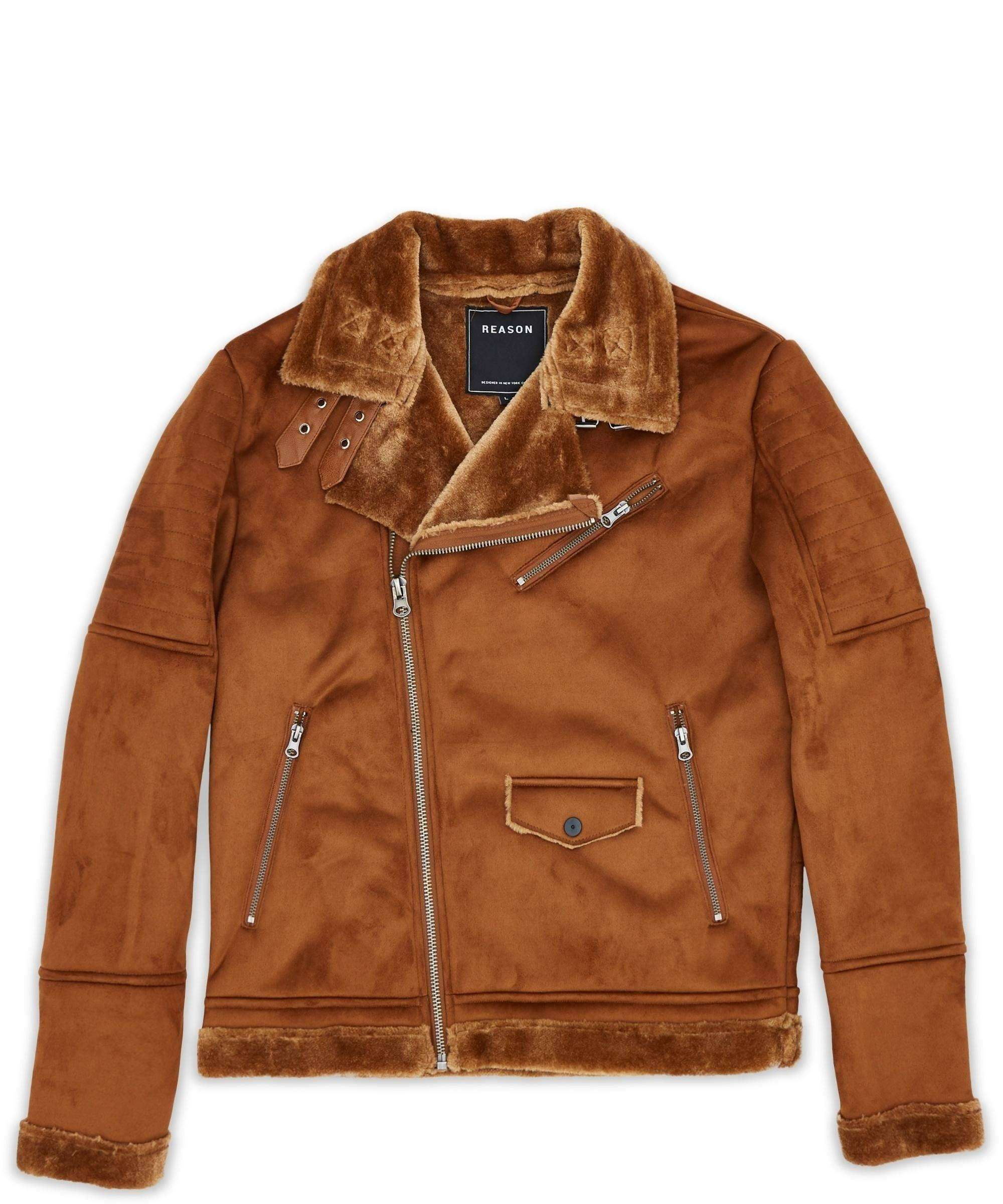 COALITION SUEDE SHEARLING MOTO - BROWN - Reason Clothing