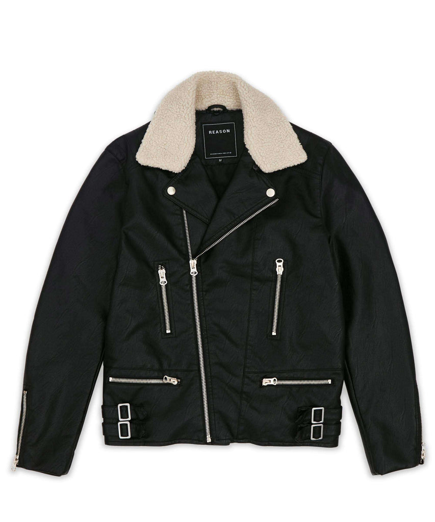 LAFAYETTE SHEARLING MOTO JACKET - BLACK - Reason Clothing