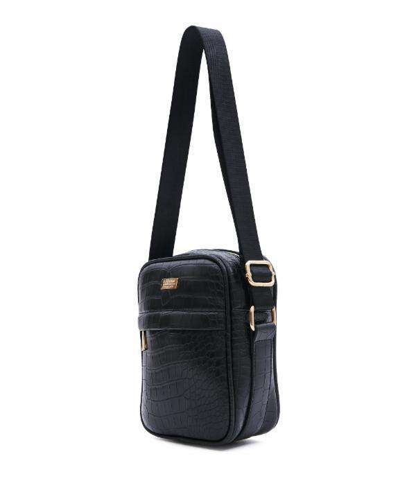 BLACK CROC SKIN CROSSBODY BAG - Reason Clothing