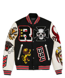 STREET VETERAN VARSITY JACKET - BLACK Reason Clothing