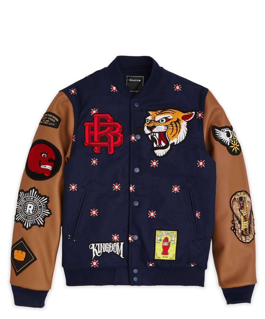 KINGDOM VARSITY JACKET - NAVY Reason Clothing