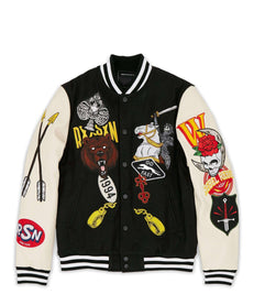 STACKED VARSITY JACKET - BLACK Reason Clothing
