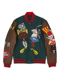 STACKED VARSITY JACKET - GREEN Reason Clothing