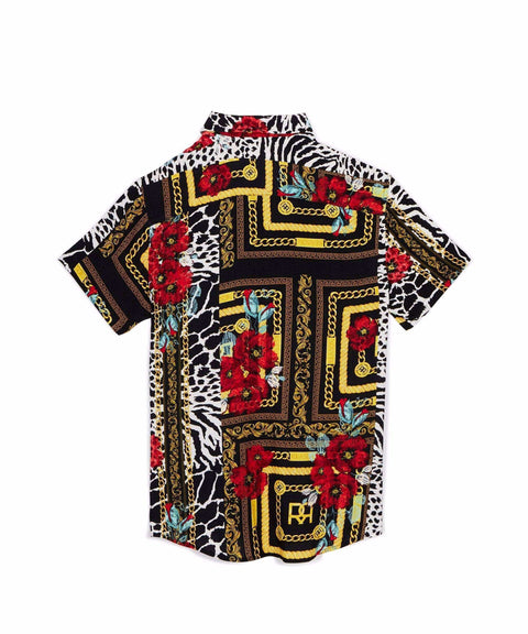 FLORAL & CHAINS WOVEN SHIRT Reason Clothing