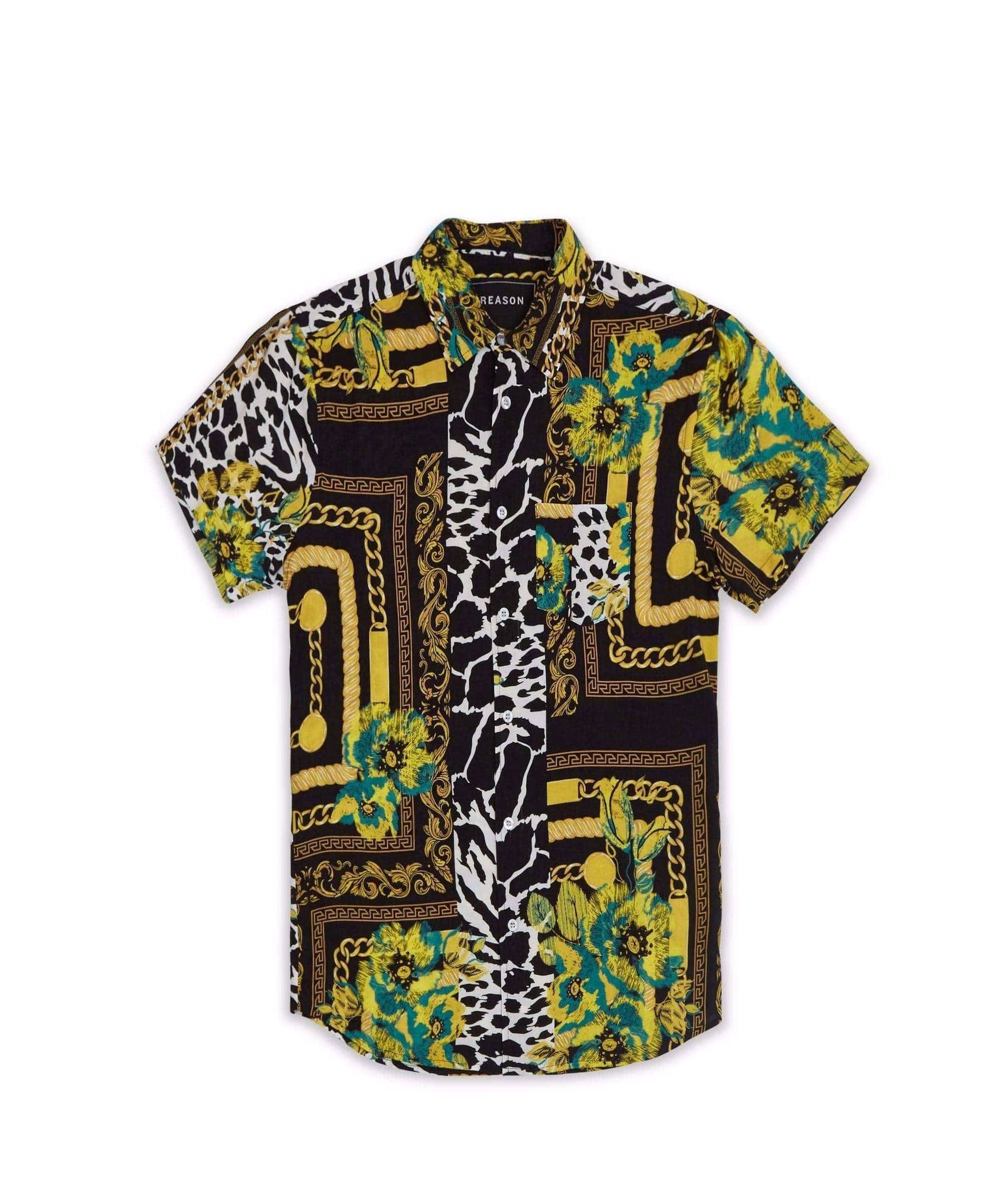 FLORAL & CHAINS WOVEN SHIRT - GREEN Reason Clothing