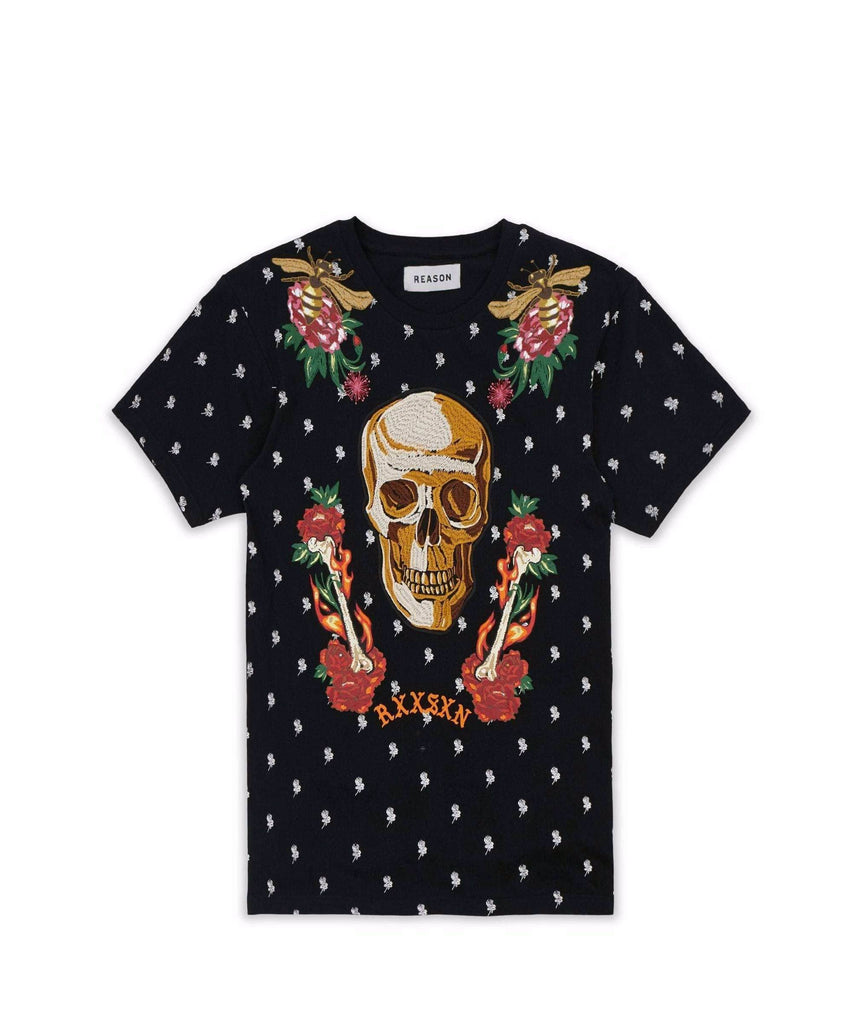 FIRE & ROSES TEE - BLACK Reason Clothing