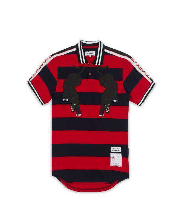 STRIPED PANTHER POLO - RED