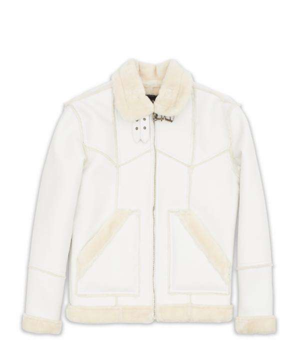 White Paneled Shearling Reason Clothing