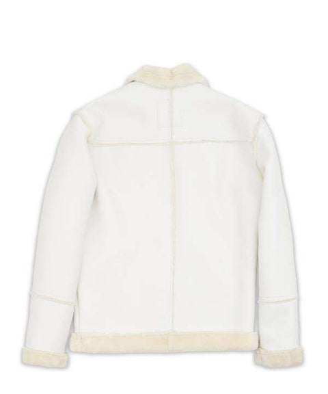 White Paneled Shearling