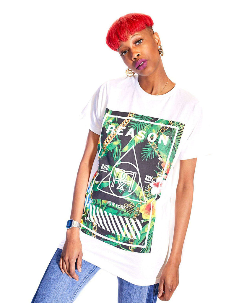 WOMEN'S TROPICS BRAND BOX TEE - WHITE - Reason Clothing