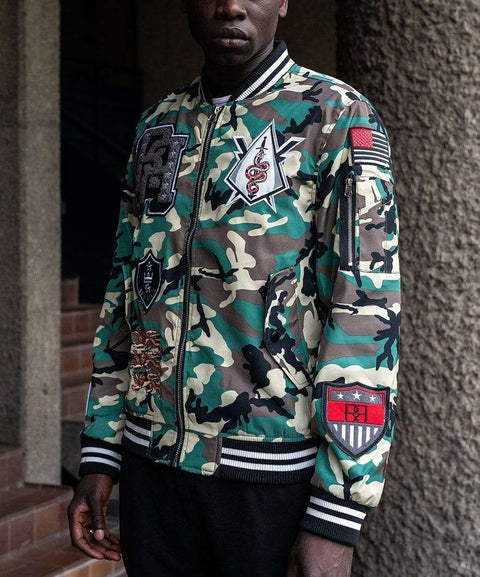 DISTRICTS CAMO VARSITY JACKET Reason Clothing