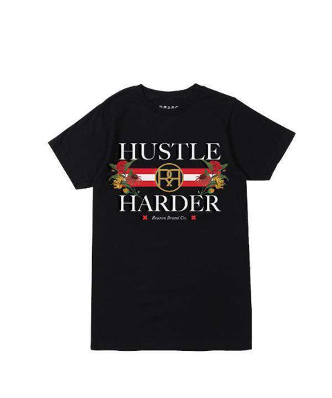 HUSTLE HARDER TEE - BLACK - Reason Clothing