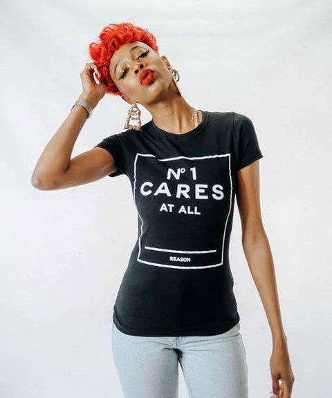 WOMEN'S NO1 CARES BOX TEE - BLACK