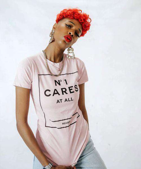 WOMEN'S NO1 CARES BOX TEE - PINK