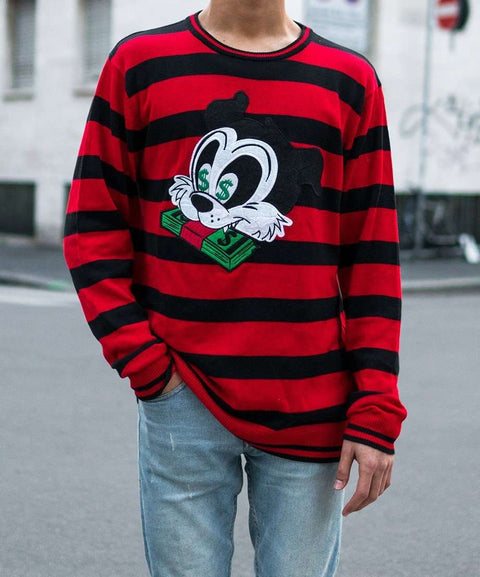 DYNASTY STRIPE KNIT SWEATER - RED