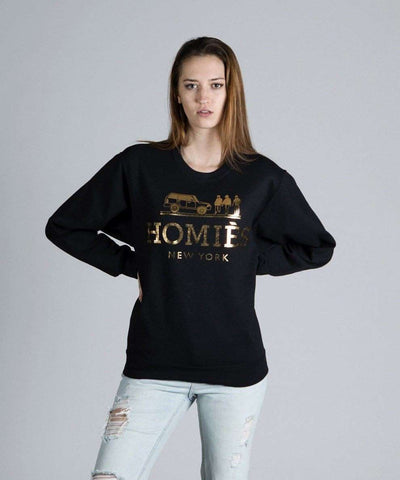 Homies New York Crewneck - Black/Gold Foil