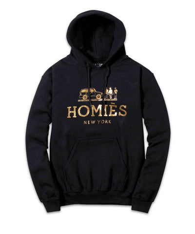 Homies New York Hoodie - Black/Gold Foil