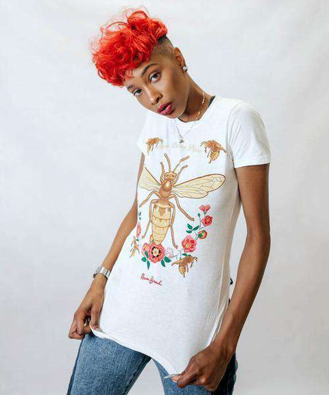 WOMEN'S BEE FLORAL LOGO TEE - WHITE