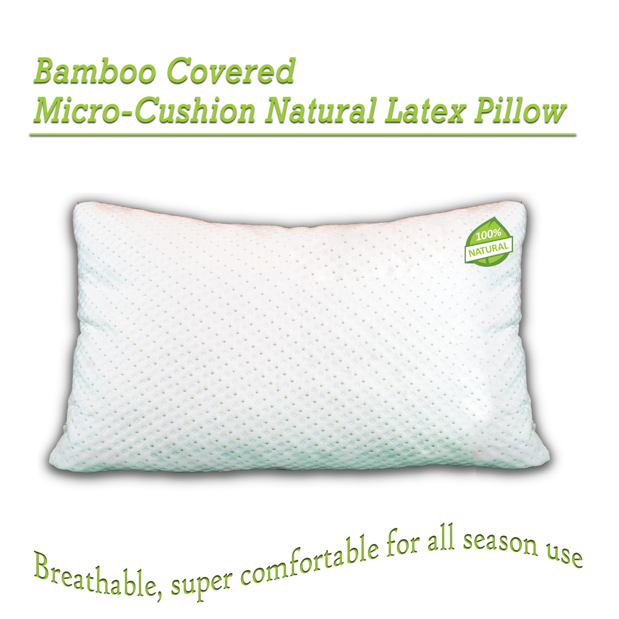 Shredded Latex Pillow Covered With Soft Bamboo Rayon