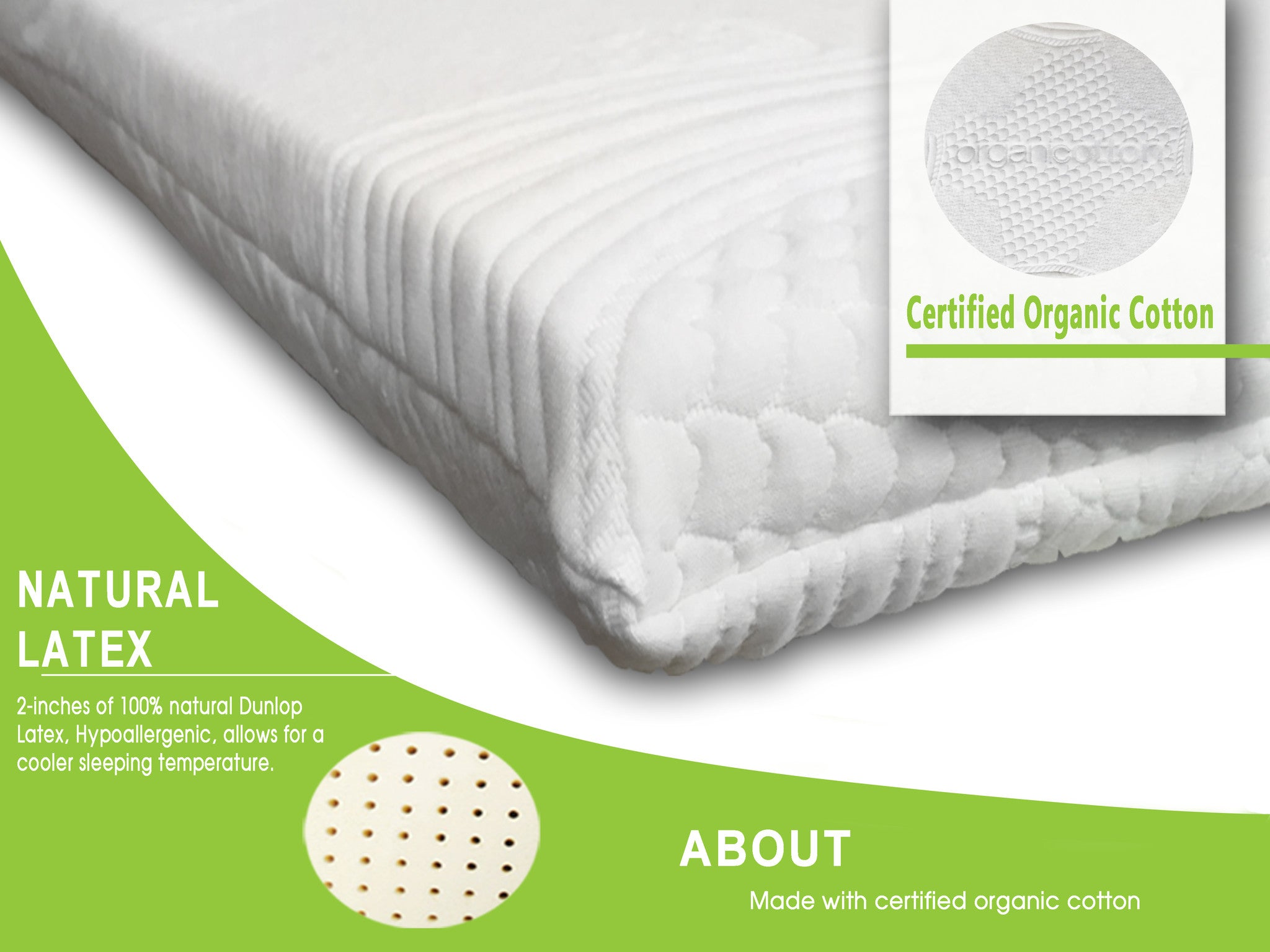 "Latex Mattress Topper 2"" All Natural Support System"