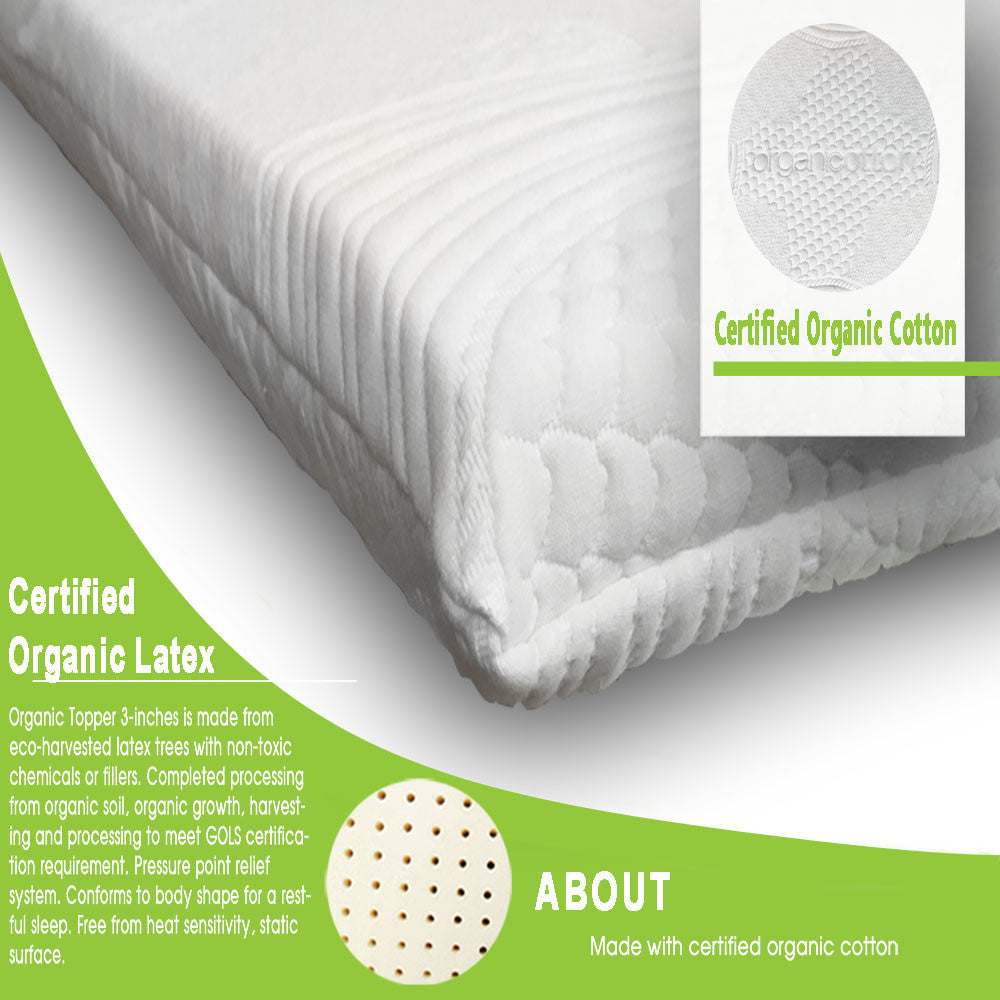 "3"" Latex Mattress Topper - MyOrganicSleep"