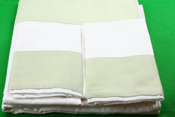 White Organic Sheet Set with Green Border - MyOrganicSleep