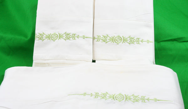 Organic Cotton Sheet Set with Embroidered Flower - MyOrganicSleep
