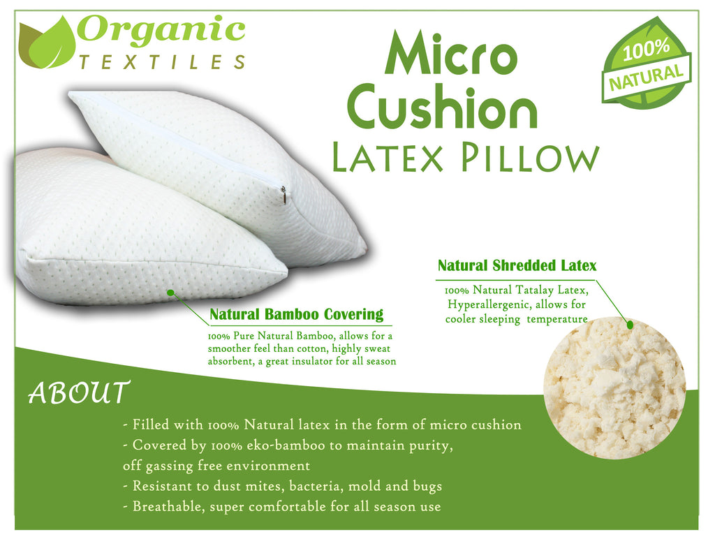 Shredded Latex Pillow Covered by Soft Bamboo Rayon - MyOrganicSleep
